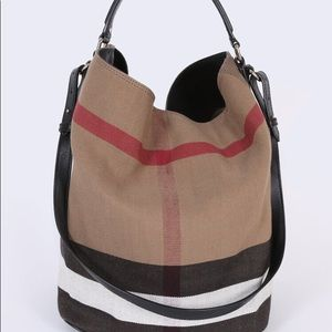 Burberry Ashby Canvas Check Hobo Bag